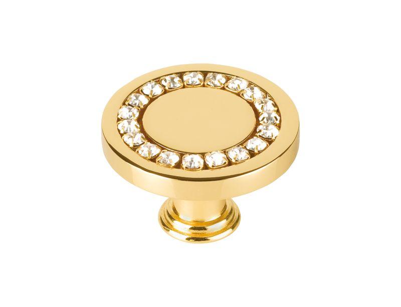 Nábytková knopka Dore průměr 30mm s potahem 24k zlata