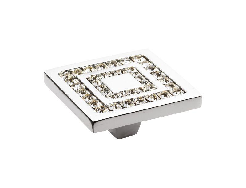 Nábytková knopka Almara 50x50 mm, 2 řady krystalů