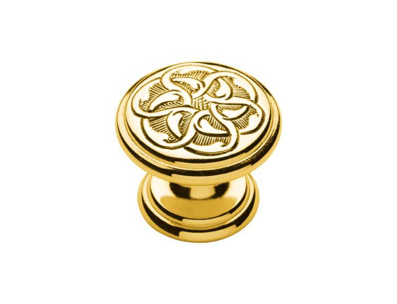 Nábytková knopka Nakis průměr 30mm s potahem 24k zlata