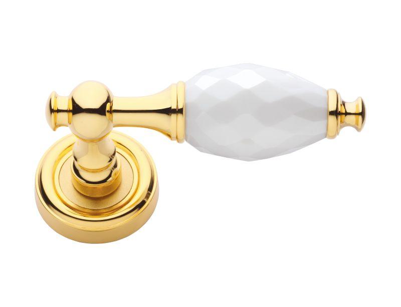 Dverová kľučka Bebek s bielym kryštálom s poťahom 24k zlata