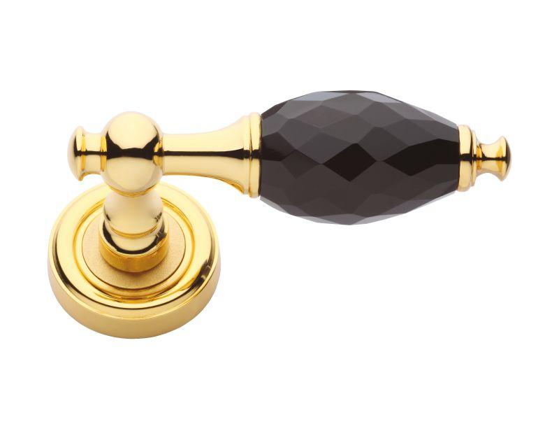 Dveřní klika Bebek s černým krystalem s potahem 24k zlata