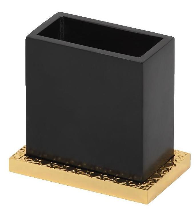 Kelímek na kartáčky Frame volně stojící s potahem 24k zlata