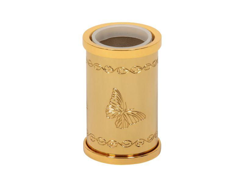 Kelímek na kartáčky Butterfly volně stojící s potahem 24k zlata