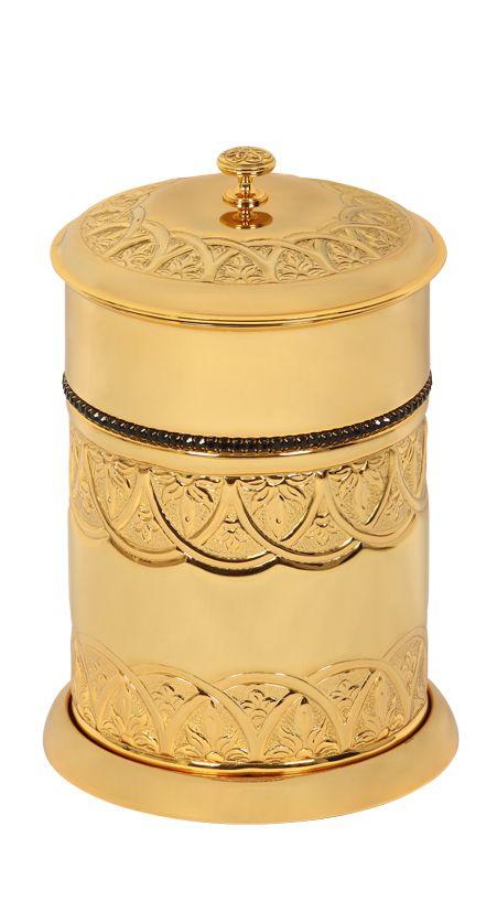 Kúpeľňový odpadkový kôš Blossom s poťahom 24k zlata