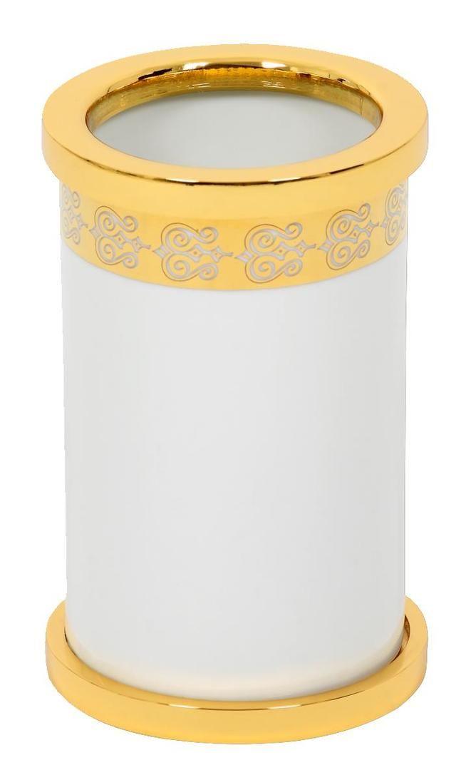 Kelímek na kartáčky Porcelaine volně stojící s potahem 24k zlata