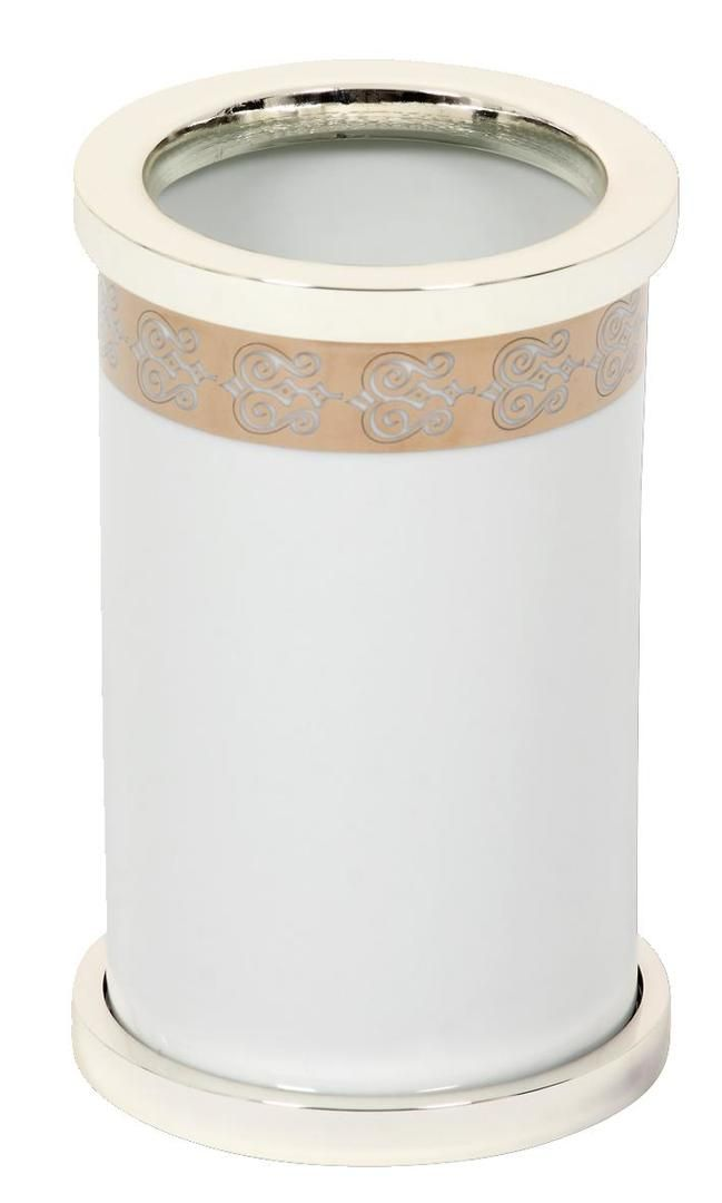 Kelímek na kartáčky Porcelaine volně stojící se stříbrným potahem
