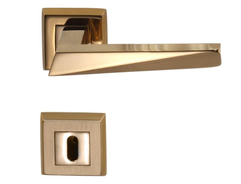 Dverová kľučka Freccia s poťahom 24k zlata kombinácia lesk/mat