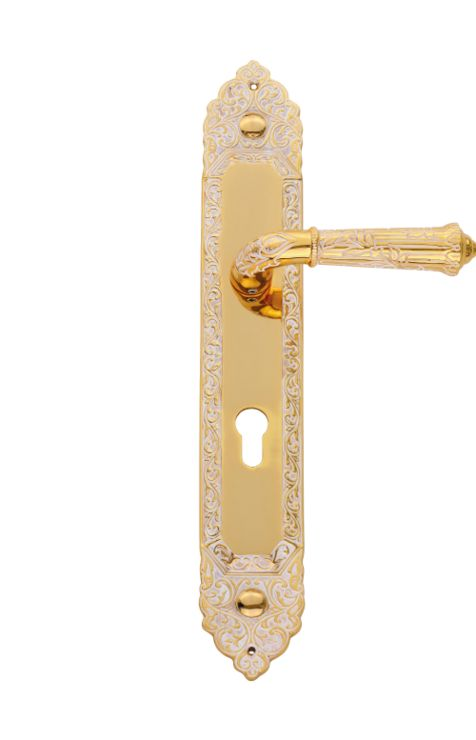 Dverová kľučka Palace Conchiglia štítková s poťahom 24k zlata