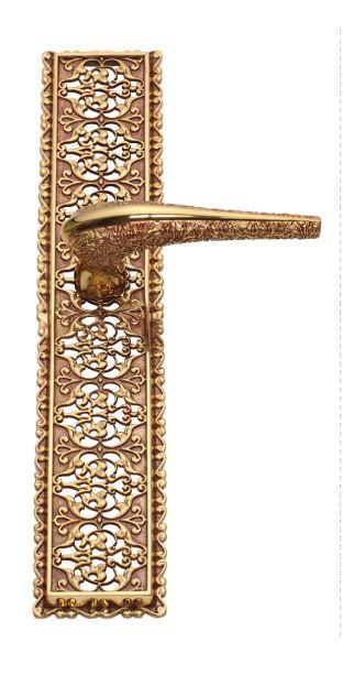 Dveřní klika Pattern klasická délka s potahem 24k zlata, rustikální potah 24k