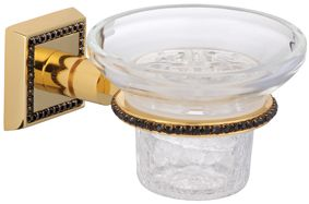 Miska na mýdlo Mimoza s černými krystaly s potahem 24k zlata