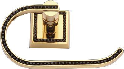 Úchyt na toaletní papír Mimoza s černými krystaly s potahem 24k zlata