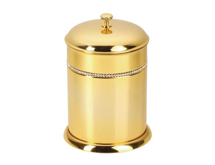 Koupelnový koš Mimoza s černými krystaly s potahem 24k zlata