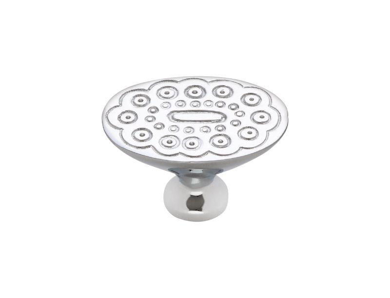 Nábytková knopka Boccolo 33x24mm s reliéfem se stříbrným potahem