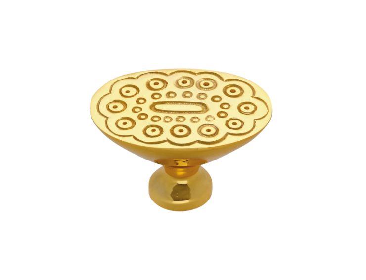 Nábytková knopka Boccolo 33x24mm s reliéfem s potahem 24k zlata