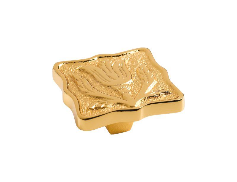Komodová knopka Lalezar čtverec 44x44mm s poťahom 24k zlata