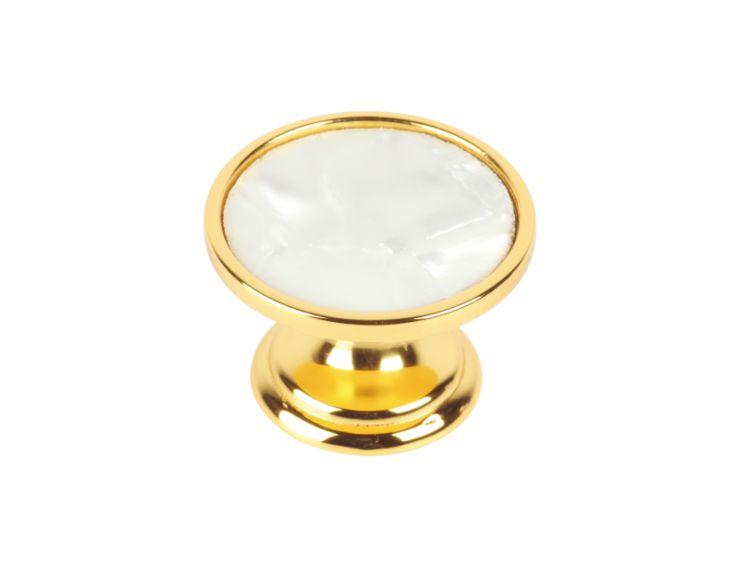 Nábytková knopka Sedef průměr 30mm s potahem 24k zlata