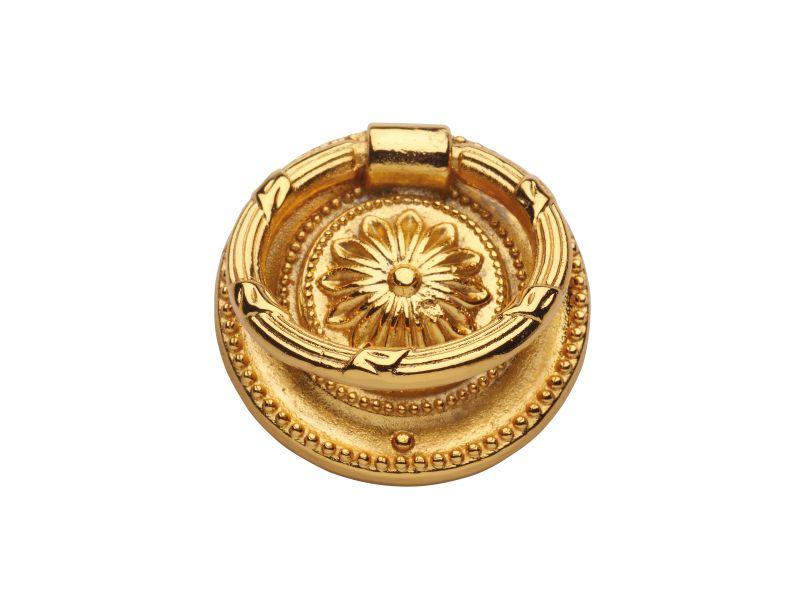 Nábytková knopka Klasicismus s kruhem s potahem 24k zlata