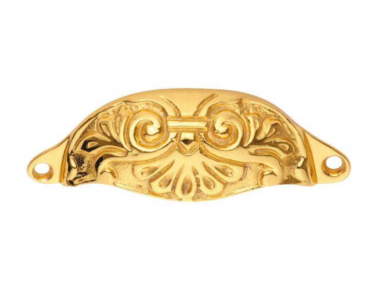 """Nábytková úchytka Relief 100x35 """"florální vlys"""" s potahem 24k zlata"""