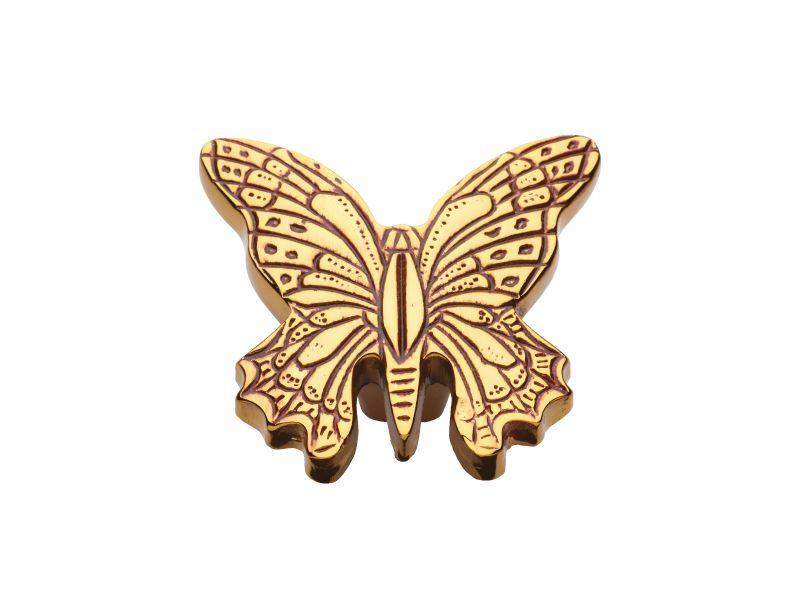 Nábytková knopka Butterfly 40x50mm - rustikálna zlatá, patinovaný chróm