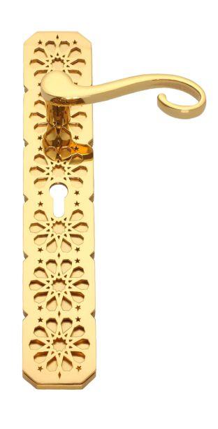 Dveřní klika Clam štítková s potahem 24k zlata