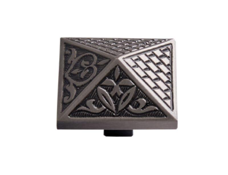 """Nábytková knopka Prizma 40x40mm s reliéfem - """"antické stříbro"""""""