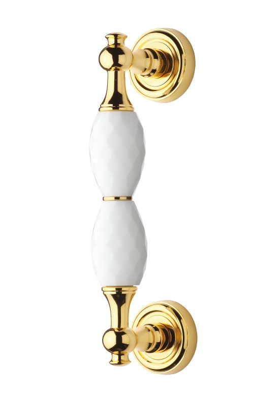 Madlo Bebek s bílým krystalem - 2 krystaly, délka 240mm s potahem 24k zlata