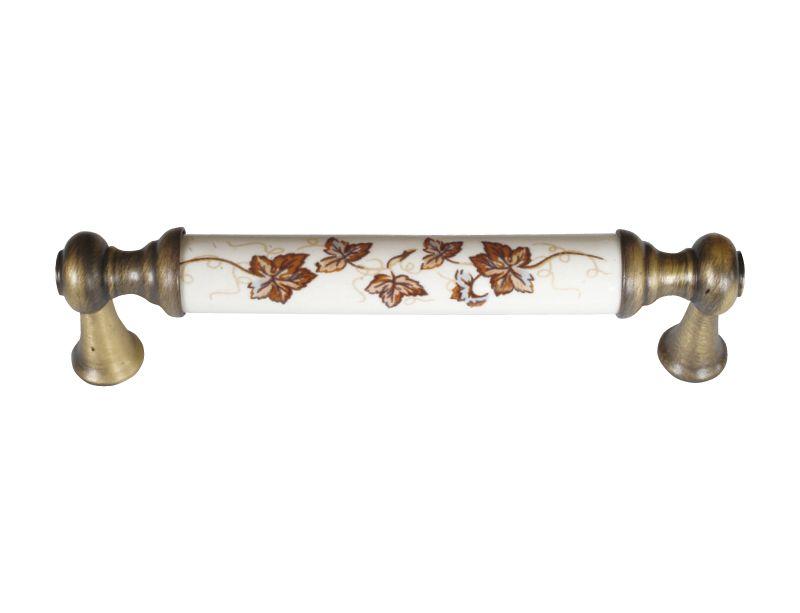 Nábytková úchytka Antik s porcelánom (vzor 304) 96mm