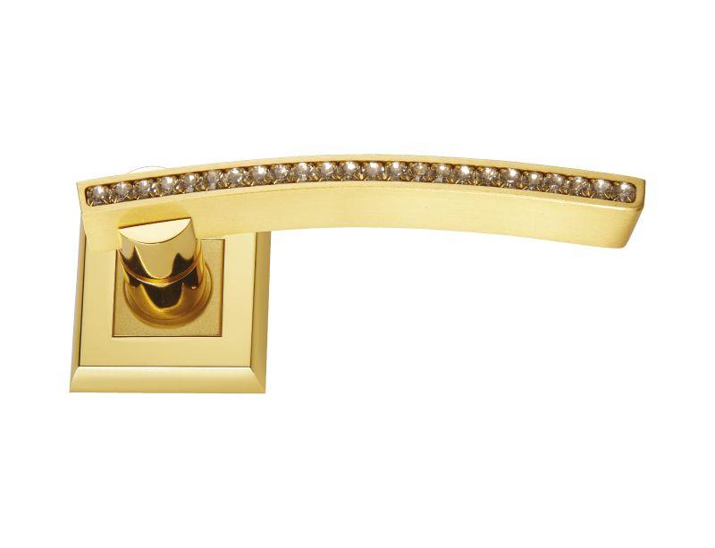 Dveřní klika Almara rozetová s potahem 24k zlata