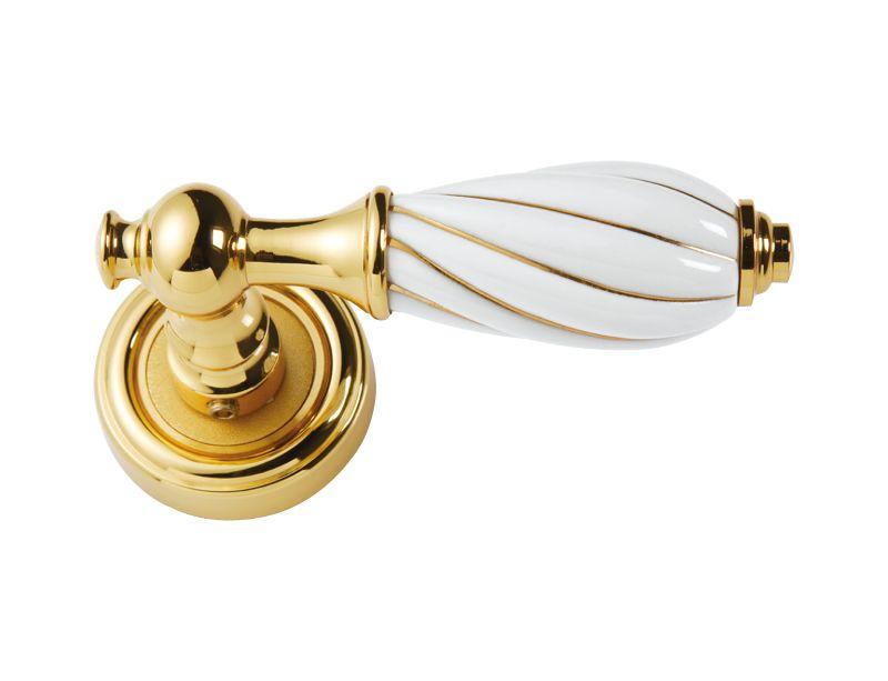 Dveřní klika Nisa rozetová s potahem 24k zlata