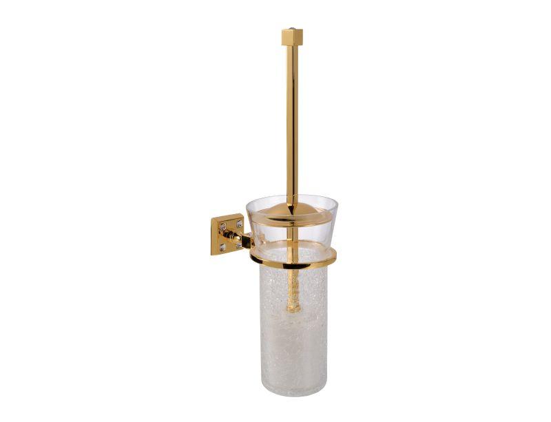 Toaletní kartáč Tria - úchyt do zdi s potahem 24k zlata