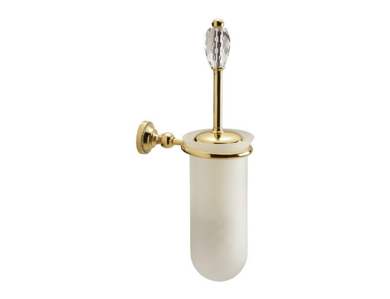 Toaletní kartáč Almara 3 krystaly úchyt do zdi s potahem 24k zlata