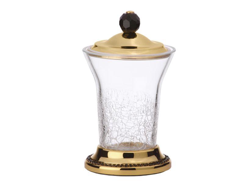Nádoba na odličovací tampony Mimoza s černými krystaly a s potahem 24k zlata