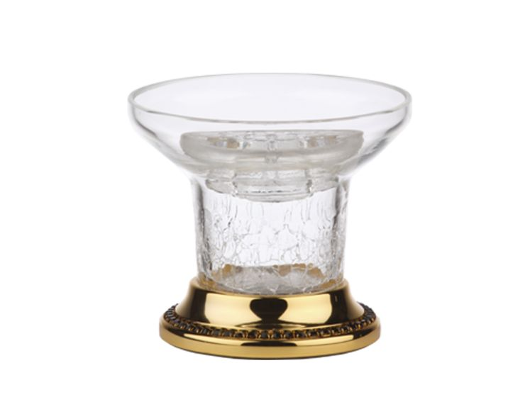 Miska na mydlo Mimoza volne stojace s čiernými kryštálmi a s poťahom 24k zlata