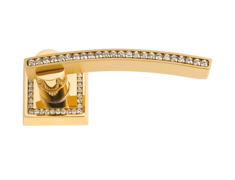 Dverová kľučka Mimoza rozetová s poťahom 24k zlata