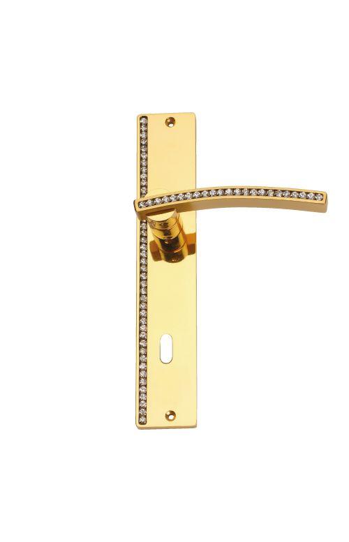 Dveřní klika Mimoza štítková s potahem 24k zlata