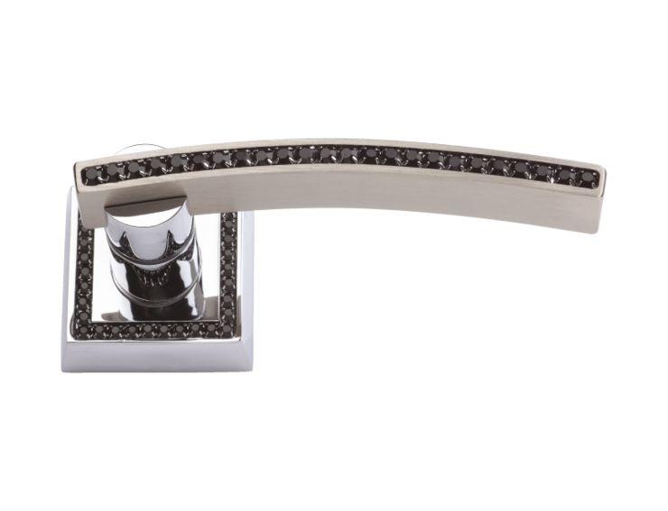 Dveřní klika Mimoza rozetová  s černým krystalem