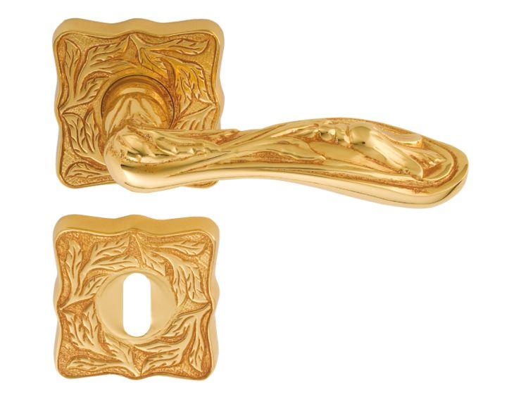 Dveřní klika Lalezar čtvercová rozeta  s potahem 24k zlata