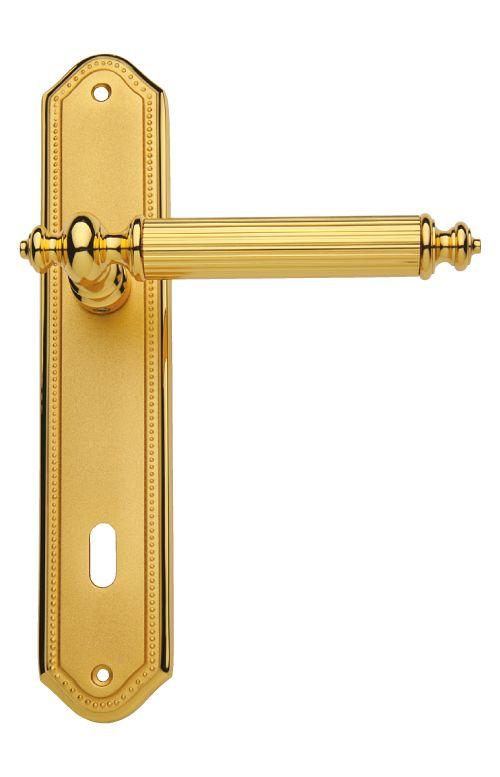 Dveřní klika Antik štítková s potahem 24k zlata