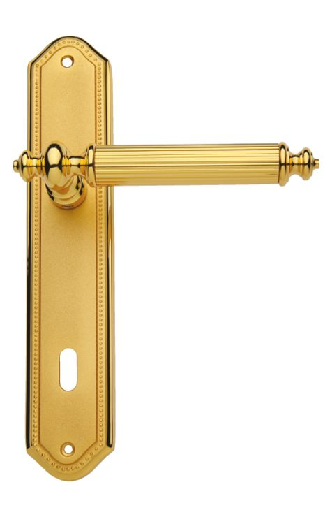 Dverová kľučka Antik štítková s poťahom 24k zlata