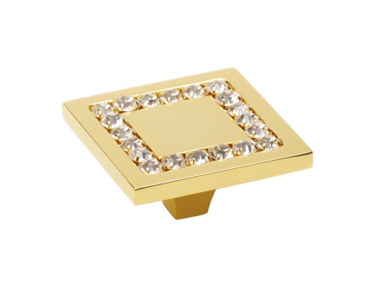 Nábytková úchytka Almara 50x50 mm s potahem 24k zlata