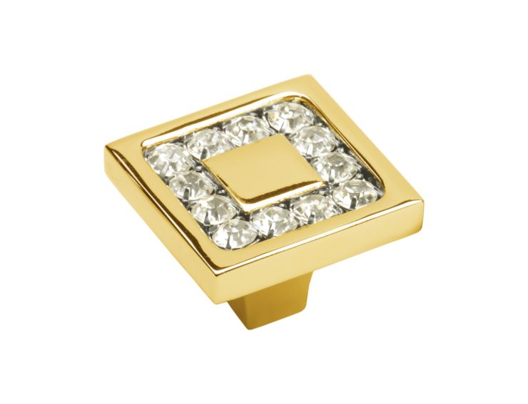 Nábytková knopka Almara 30x30 mm s potahem 24k zlata