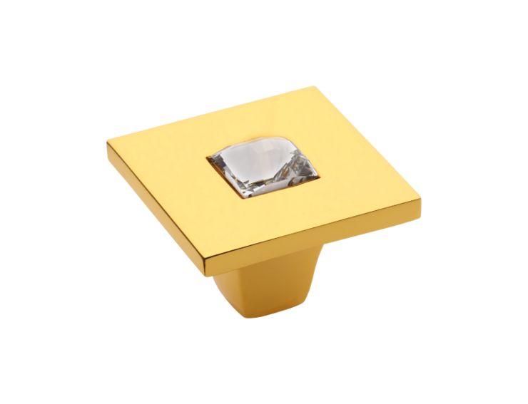 Komodová knopka Tria 30x30mm, 10x10 Swarovski s potahem 24k zlata