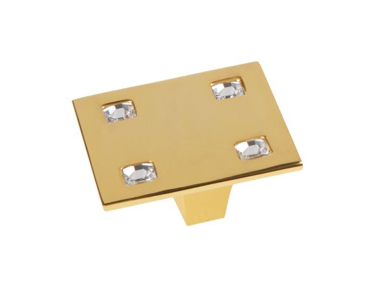 Komodová knopka Tria 50x50mm, 10x10 Swarovski s potahem 24k zlata