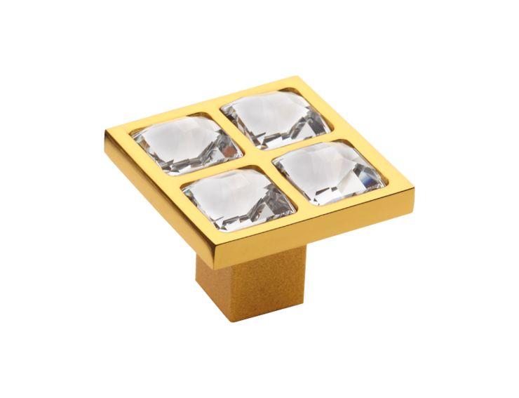 Komodová knopka Tria 24x24mm, 10x10 Swarovskis potahem 24k zlata