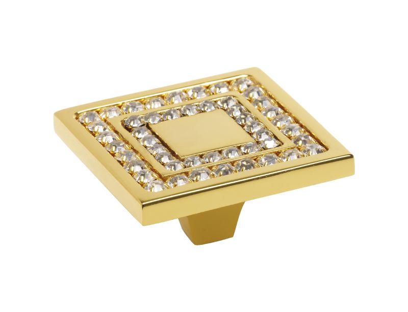 Nábytková knopka Almara 50x50 mm 2 rady kryštálov s poťahom 24k zlata