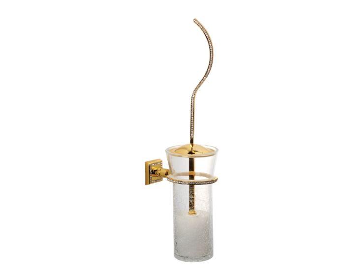 Toaletní kartáč Mimoza - úchyt do zdi s potahem 24k zlata