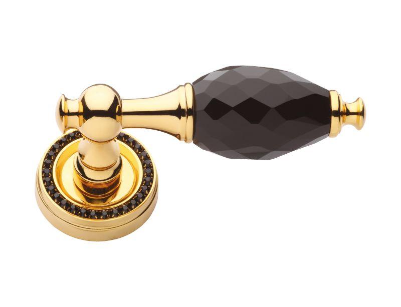 Dveřní klika Bebek s černým krystalem a krystaly v rozetě s potahem 24k zlata