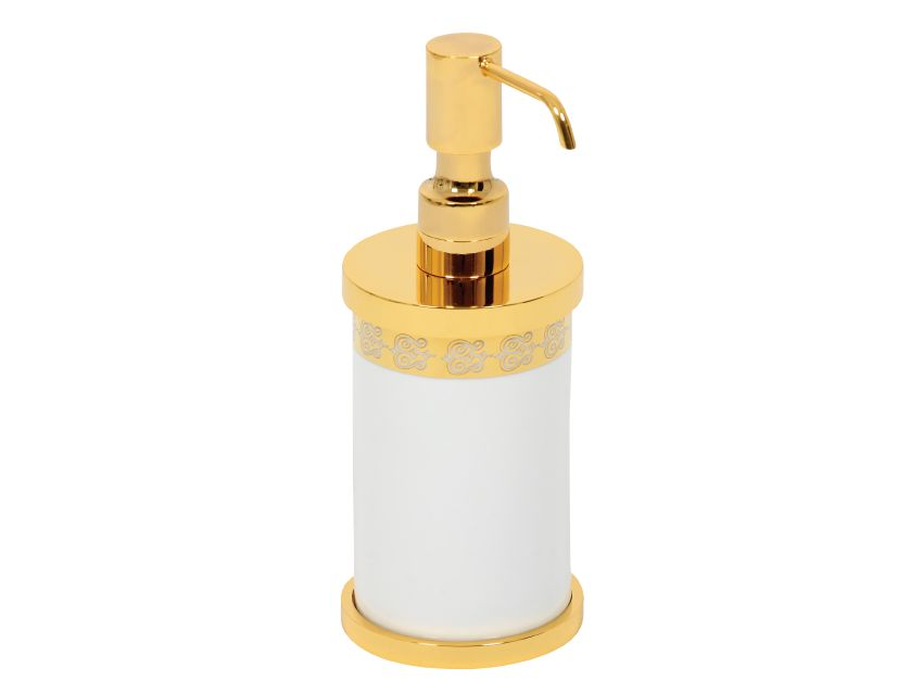 Dávkovač mýdla Porcelaine volně stojící  s potahem 24k zlata