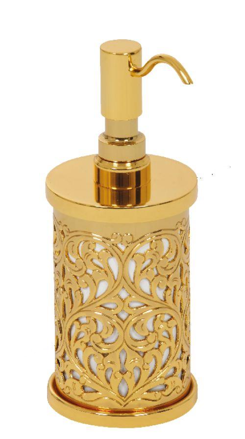 Dávkovač mýdla Conchiglia volně stojící s potahem 24k zlata