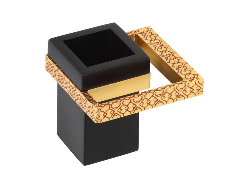 Téglik na kefky Frame s úchytom do steny s poťahom 24k zlata